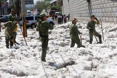 One of Mexico's busiest cities, Guadalajara, saw thick, slushy ice creep into local homes and businesses overnight. Hail Storm, Natural Phenomena, Autumn Trees, Mexico City, Climate Change, Laos, Mexican, Canada, Marvel