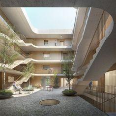 jona 03 innenhof Social Housing Architecture, Architecture Courtyard, Concept Architecture, Residential Architecture, Student House, Atrium, New England, Building, Thesis