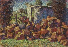 """""""The Woodheap"""", 1994, by Madeleine Clear (1945- ), Mixed Media, 71 x 102cm. Acquired by The Shire of Mundaring in 1995."""