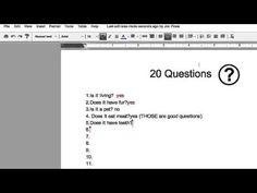 Google Doc- 20 Questions  http://mattbgomez.com/playing-20-questions-live-via-google-docs/