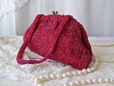 Vintage Deep Pink Beaded Bag Evening Bag Cocktail Purse Made In Belgium 1970s
