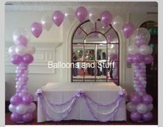 Balloon columns and arch.  #balloon-arch #balloon-decor #balloon-wedding-decor
