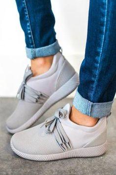 Nacara Lace Up Sneaker Grey - Lucy Avenue Just Keep Walking, Sneakers Fashion Outfits, Fashion Clothes, Fashion Shoes, Fashion Top, Fashion Rings, Luxury Fashion, Winter Fashion, Girl Fashion