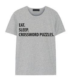 Kruiswoordraadsel T-Shirt eten slapen van WaryaTshirts op Etsy