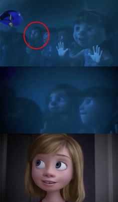 "There are new Easter eggs like Inside Out's Riley making a quick cameo in Finding Dory… | Disney-Pixar Just Revealed A Ton Of New Easter Eggs And They Will Make You Say, ""Wait, What?!"""