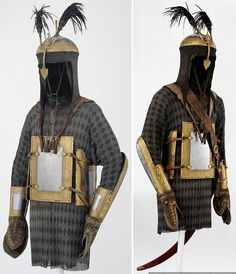 Indian 18th century khula-khud (helmet),  char-aina (chahar-aina, chahar a'ineh), literally the four mirrors, chest armor with four plates, dastanas/bazu band (vambrace/arm guards) retaining their covered hand guards, zirah (mail shirt) with ganga jamni mail (iron and copper/brass links in a pattern). Royal arsenals (Royal Armouries). Leeds.