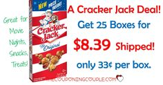 FUN DEAL! Get 25 boxes of Cracker Jack for only $8.39! That is only 33¢ per box! Great for movie nights, treats, snacks!  Click the link below to get all of the details ► http://www.thecouponingcouple.com/cracker-jack/ #Coupons #Couponing #CouponCommunity  Visit us at http://www.thecouponingcouple.com for more great posts!