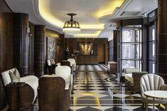 Luxury Hotel Interior Designs by Richmond International The Beaumont Hotel lobby Richmond Int luxurious furniture Estilo Art Deco, Arte Art Deco, Art Deco Hotel, Richmond Interiors, Hotel Interiors, Deco Interiors, Hotel Lobby, Interiores Art Deco, Art Nouveau