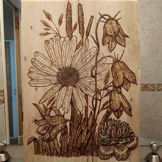 -Burning pen -Polttotyöt -Pyrography Flowers -Polttotyöt Kukkia Pyrography, Curtains, Shower, Prints, Diy, Rain Shower Heads, Do It Yourself, Bricolage, Showers