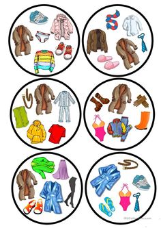 Clothes dobble game worksheet - Free ESL printable worksheets made by teachers English Games, English Activities, Vocabulary Activities, Preschool Worksheets, Printable Worksheets, Printables, French Lessons, Spanish Lessons, English Lessons