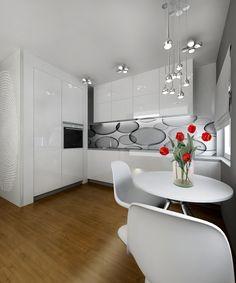 RoomReveal - Modern white kitchen, small flat in Katowice by Barbara Kamińska