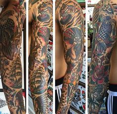 Guy With Traditional Sailing Ship Sleeve Tattoo