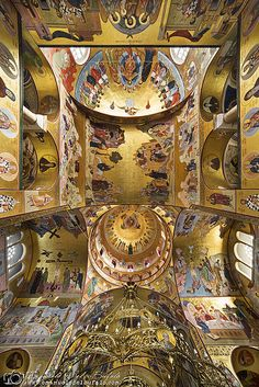 Podgorica Подгорица-  Montenegro- The Massive Ceiling -by Emanuele Del Bufalo -I am practically lying on the ground, I wanted to get a picture wide enough to take the whole top of the cathedral in a single shot. The only way to do it was just to place the camera directly on the floor, forcing me to squat on the cold stone floor, to avoid entering the frame.