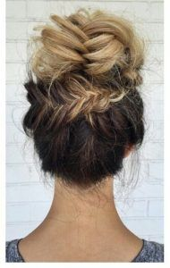 Short Messy Updo with Headband Braid - 60 Gorgeous Updos for Short Hair That Look Totally Stunning - The Trending Hairstyle Braided Hairstyles Updo, Braid Bun Updo, 5 Minute Hairstyles, Short Hair Updo, Fancy Hairstyles, Girl Hairstyles, Short Hair Styles, Fishtail Bun, Braided Updo
