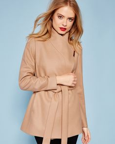 Short wrap cashmere-blend coat - Camel | Jackets And Coats | Ted Baker
