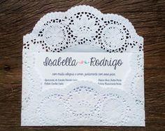 Convite Envelope Renda - 75 unidades