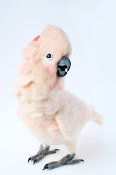 Needle Felted Moluccan Cockatoo, Customized For You by YvonnesWorkshop on Etsy https://www.etsy.com/listing/229199702/needle-felted-moluccan-cockatoo