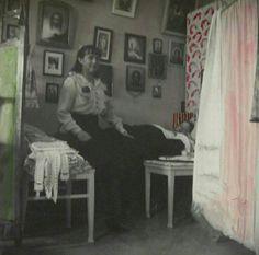 "Grand Duchesses Anastasia and Olga Nikolaevna Romanova of Russia in 1915.Anastasia seems to be colouring the photo. ""AL"""