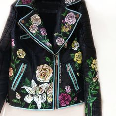 Full floral handpainted female biker jacket #handpainted #bespokejacket…