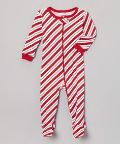 Red Stripe Candy Cane Footie - Infant, Toddler & Kids by Leveret