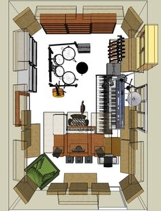 Soundproof Home with These Five Cheap Ideas Home Recording Studio Setup, Home Studio Setup, Studio Layout, Studio Desk, Drums Studio, Music Studio Room, Sound Studio, Audio Studio, Home Music Rooms