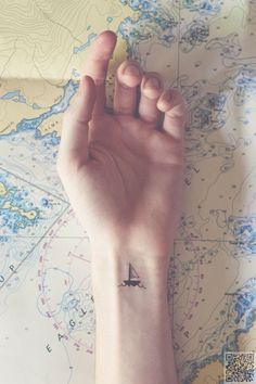 8. Just a Tiny #Little Boat - These #Nautical Tattoos Will Make You Want to Sail the #Seven Seas ... → #Beauty #Designs