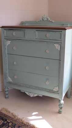 Beautiful vintage dresser - Persian blue and white with wood stained top.  Love it!