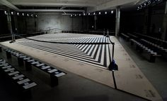 Catwalk tour: the top S/S 2014 women's fashion week venues / Edun: Another graphic motif graced the central catwalk at Edun's New York show, perfectly in tune with the geometric elements in the collection designed by the brand's new creative director, Danielle Sherman