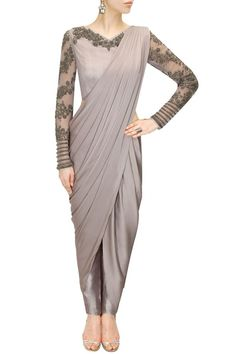 grey draped gown sari full sleeves, sheer embroidered sleeves, metallic dhoti pant sari drape, dove grey, silver, lilac, lavender, edgy, brides best friend outfit