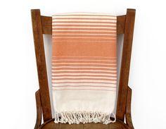 Turkish Beach Towel ORANGE INFINITY PESHTEMAL Handwoven Turkish Bath Towel Beach Wrap Sarong Fouta Pareo Throw Shawl Beach Towel Pool Cream