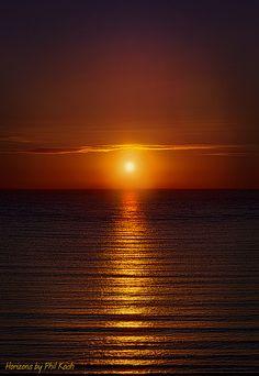 Red Sunrise in Morning over Ocean