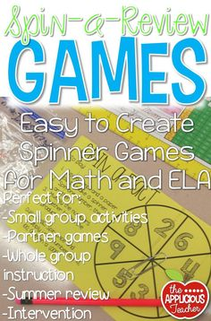 Easy to prep spinner games FREEBIE! Designed for grades 2-4. Perfect for small group instruction, partner games, intervention, or as a whole group review. Print them out and send home for easy summer review without a packet!