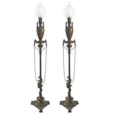 In the Style of F. Levillain and F. Barbedienne, Pair of Oil Lamps | From a unique collection of antique and modern floor lamps  at https://www.1stdibs.com/furniture/lighting/floor-lamps/