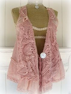 Crocheted lacy vest collar
