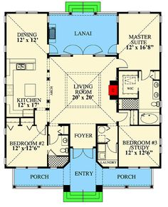 Beachside Beauty - floor plan - Main Level - House Plans, Home Plan Designs, Floor Plans and Blueprints Beach House Plans, Dream House Plans, Modern House Plans, Small House Plans, House Floor Plans, The Plan, How To Plan, Piscina Interior, Cottage Plan