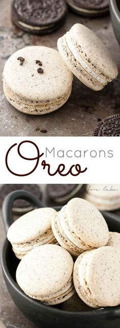 Turn your favourite store-bought classics into something more decadent with these delicate Oreo macarons. Turn your favourite store-bought classics into something more decadent with these delicate Oreo macarons. Think Food, Love Food, Baking Recipes, Cookie Recipes, Recipes With Oreos, Gourmet Cupcake Recipes, Frosting Recipes, Oreo Macarons, Macaron Cake