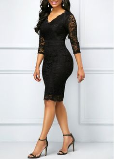 This little black dress is everything! Sleek, sexy and lace! Love the V Neck Black Three Quarter Sleeve Lace Dress . Casual Party Dresses, Club Party Dresses, Trendy Dresses, Tight Dresses, Nice Dresses, Lace Dress With Sleeves, Lace Sheath Dress, Dress Outfits, Fashion Outfits