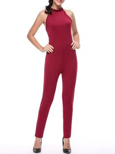 Hot X-Back Band Collar Solid Slim-Leg Jumpsuit