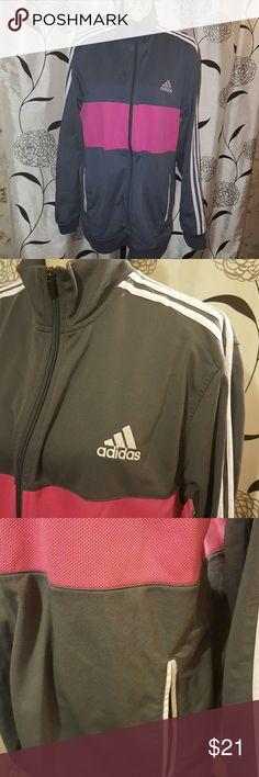 🕇❤Adidas track jacket full zipper. grey and pink. 2 front pockets. sz XL. mint condition.   MEASUREMENTS:  armpit to armpit 23 waist 23 length 30. adidas Jackets & Coats