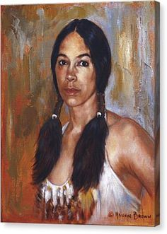 Sioux Woman Canvas Print by Harvie Brown