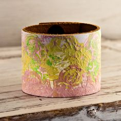 Pastel Spring Colors Wide Leather Cuff Wristband OOAK by rainwheel, $50.00
