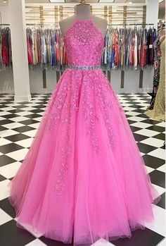 Halter Neck Pink Lace Long Prom Dresses with Belt, Pink Lace Formal Evening Dresses Winter Formal Dresses, Formal Evening Dresses, Formal Gowns, Dress Formal, Evening Gowns, Elegant Dresses, Pretty Dresses, Beautiful Dresses, Tulle Prom Dress
