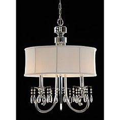 @Overstock - Update your home decor with this 3-light crystal chandelier   Lighting fixture will add subtle elegance to any room in the house  Light features chrome plated arms with crystal beadshttp://www.overstock.com/Home-Garden/Fabric-Shade-3-light-Crystal-Chandelier/3672050/product.html?CID=214117 $109.99