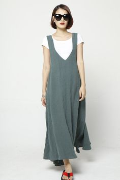 Maxi Linen Straps Dress Vest Dress Sleeveless by Sophiaclothing