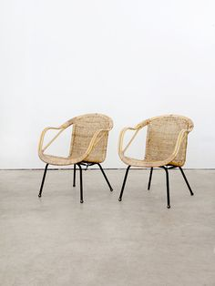 Arthur Umanoff Chairs / Mid Century Basket Chairs / Pair by 86home, $900.00