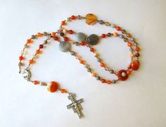 Orange and Gray Franciscan Crown Rosary of by secondarycreations