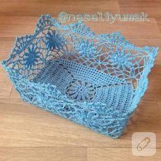 tig-is-comment-the-basket est durci - Dantel - Filet Crochet, Art Au Crochet, Crochet Fairy, Crochet Bowl, Crochet Stitches, Knit Crochet, Crochet Patterns, Crochet Christmas Gifts, Crochet Gifts