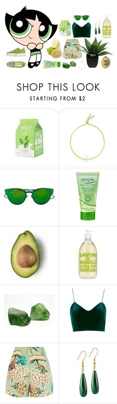 """""""Green (Milk) Power // Contest entry"""" by dearflynn ❤ liked on Polyvore featuring Ruifier, Christian Dior, Simple, Preciosa and Jijil"""