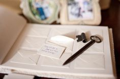 let guests leave a message on cards to place in tiny envelopes inside your guest book.