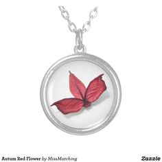 Autum Red Flower Silver Plated Necklace